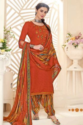 Jacquard Print Pure Pashmina Punjabi Suit Orange Color