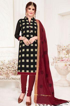 Jacquard Silk Black Chudidar Salwar Kameez