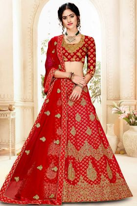 Jacquard Silk Bridal Lehenga In Embroidered Work Red Color