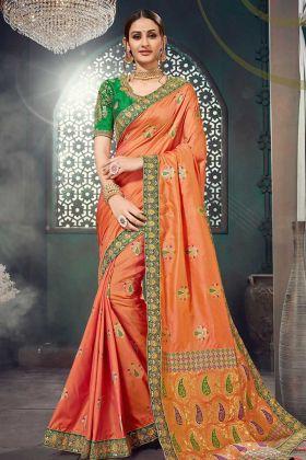 Jacquard Silk Designer Banarasi Saree Thread Embroidery Work Orange Color