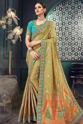 Jacquard Silk Festival Banarasi Saree Jari Embroidery Work In Multi Color