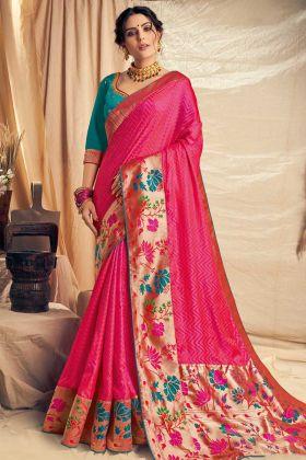 Jacquard Silk Festival Saree In Pink Color