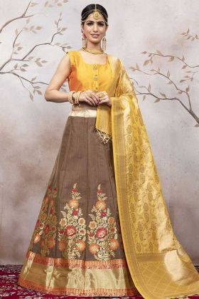 Jacquard Silk Light Brown Lehenga Blouse Design