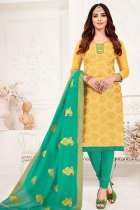 Jacquard Silk Musturd Yellow Churidar Straight Salwar Suit