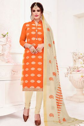 Jacquard Silk Orange Churidar Suit Online