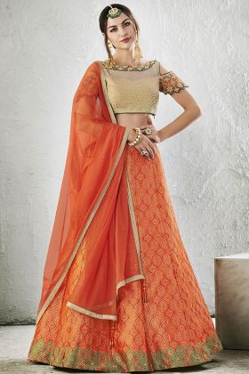 Jacquard Silk Orange Lehenga Choli online