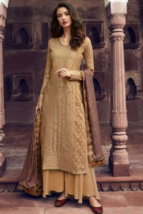 Jacquard Silk Pakistani Dress Beige Color With Stone Work