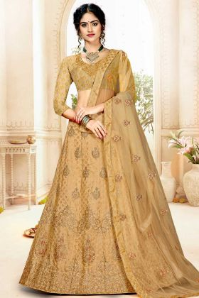 Jacquard Silk Panelled Lehenga Choli Beige Color With Stone Work