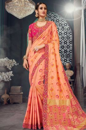 Jacquard Silk Party Wear Banarasi Saree Dark Peach Color With Jari Embroidery Work