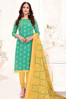 Jacquard Silk Sea Green Chudidar Straight Salwar Suit
