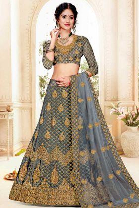 Jacquard Silk Wedding Lehenga Choli Dark Grey With Art Silk Blouse