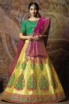 Jacquard Silk Wedding Lehenga Choli