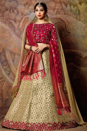 Jacquard Silk Wedding Lehenga Choli