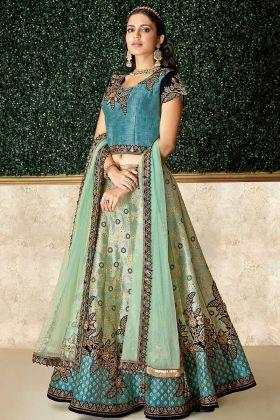 Jacquard Silk Wedding Lehenga Choli In Blue Color