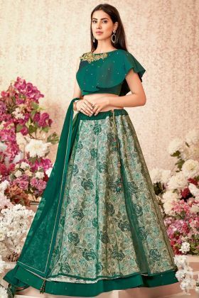 Jacquard Silk Wedding Lehenga Choli In Emerald Green Color