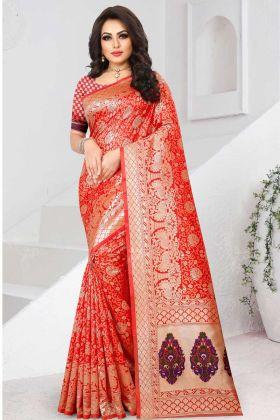 Jacquard Two Tone Soft Silk Saree Red Color