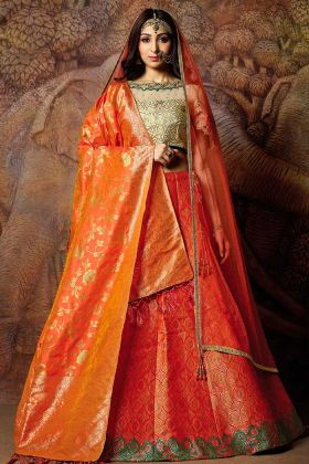 Jacquard Weaved Silk Orange Lehenga