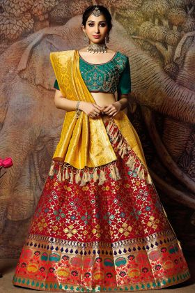 Jacquard Weaved Silk Red Lehenga