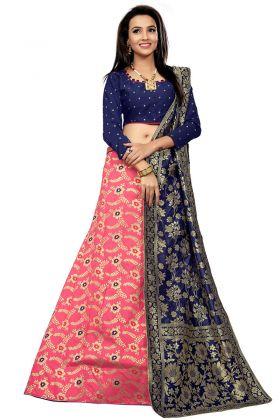Jacquard Wedding Lehenga Choli Woven Print Work In Firozi Color