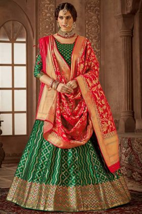 Jacquard Work Banarasi Silk Festival Lehenga Choli In Green Color