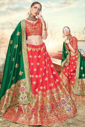 Jacquard Work Banarasi Silk Jacquard Red Lehenga Choli
