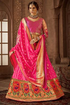 Jacquard Work Banarasi Silk Wedding Lehenga Choli In Pink Color