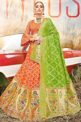 Jacquard Work Orange Color Banarasi Silk Jacquard Wedding Lehenga Choli