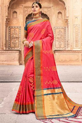 Jacquard Work Pink Color Silk Designer Saree