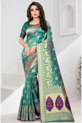 Jacquard Work Two Tone Soft Silk Saree Rama Color