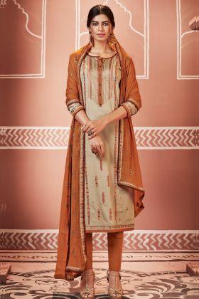 Jam Cotton Silk Beige Pant Style Suit Online