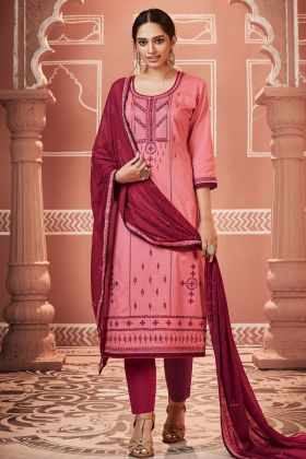 Jam Cotton Silk Peach Pant Style Salwar Suit