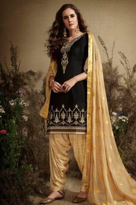 Jam Silk Cotton Black Punjabi Dress