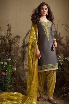 Jam Silk Cotton Grey Punjabi Suit