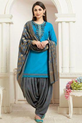 Jam Silk Cotton Punjabi Dress Embroidery Work In Sky Blue Color