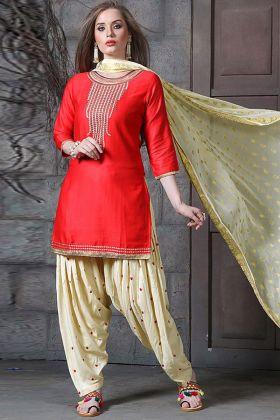 Jam Silk Punjabi Salwar Kameez Embroidery Work In Red Color