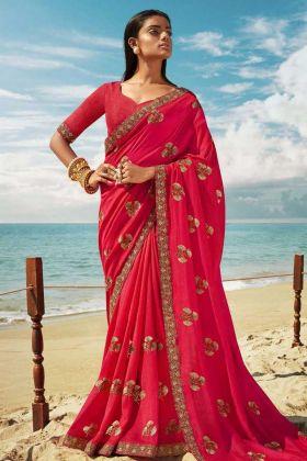 Jari And Thread Embroidered Art Silk Pink Saree