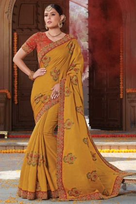 Jari Embroidery Musturd Yellow Tussar Art Silk Saree