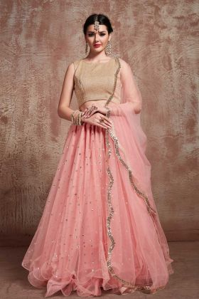 Jari Embroidery Fancy Baby Pink Color Net Wedding Lehenga Choli