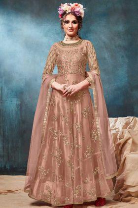 Jari Embroidery Work Net Wedding Anarkali Suit In Dusty Peach Color
