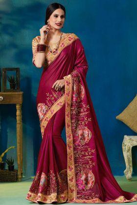 Jari Thread Embroidery Work Silk Georgette Saree In Maroon Color