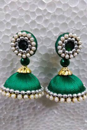 Jhumki Earrings Pine Green Resham Thread