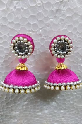 Jhumki Earrings Pink Resham Thread