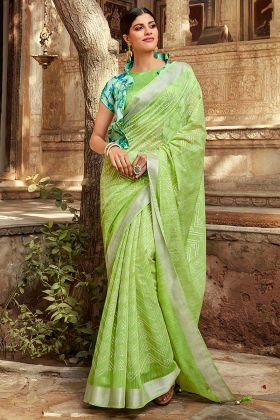 Jute Cotton Casual Printed Saree With Parrot Green Color