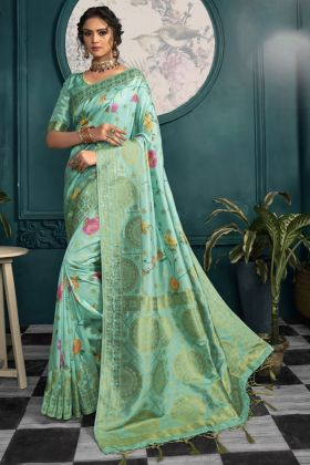 Kabirpanthi Crepe Silk Party Wear Saree In Turquoise Color