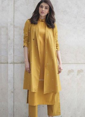 Kajal Aggarwal Wear Mustard Suit With Koti