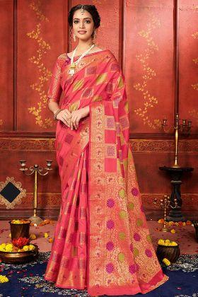 Kanjivaram Saree Dark Peach Banarasi Silk For Wedding