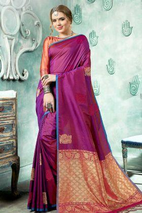 Kanjivaram Art Silk Weaving Wedding Saree In Violet Color