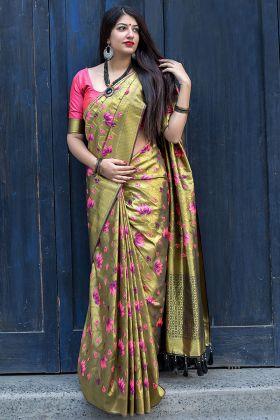 Kanjivaram Silk Mehendi Color Traditional Saree