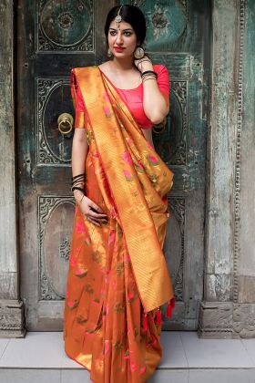 Kanjivaram Silk Orange Color Traditional Saree