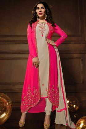 Karma Pink Georgette Jacket Style Suit